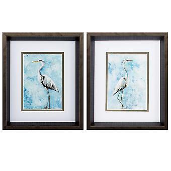 "10"" X 12"" Brushed Silver Frame Hazy Morning Heron (Set of 2)"