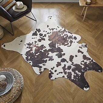 Cow Print Faux Animal Rug In Black White