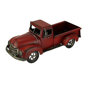 Hand Painted Vintage Red Pickup Truck Metal Statue