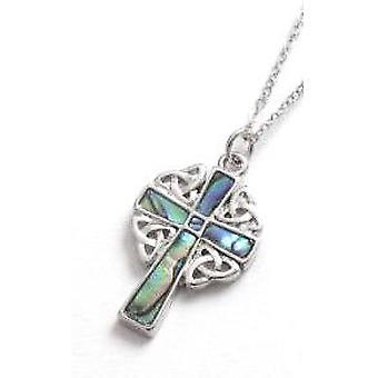 TOC Natural Paua Shell Celtic Cross Pendant Necklace 16