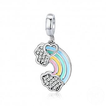 Sterling Silver Pendant Charm Colorful Rainbow - 5803