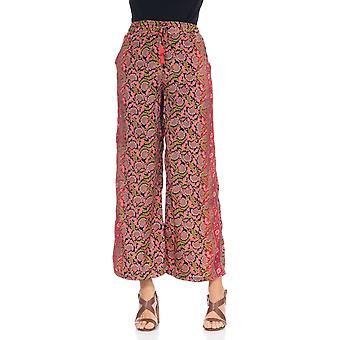 Printed trousers with elastic waist
