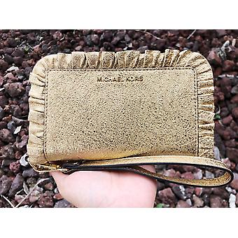 Michael kors jet set large phone wristlet wallet gold