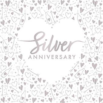 Silver Anniversary Wedding Foil Paper Party Napkins 3 ply x 16