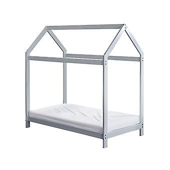 Wooden Toddler Bed House Grey Plus Foam Mattress
