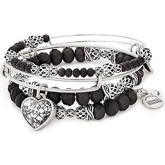 Alex And Ani Crystal Patina Heart Bracelet Charm Set of 3 - A17SETH03RS