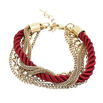 Bracelet, corde torsadée et chaînes colorées dorées - Rouge