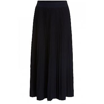 Oui Black Pleated Midi Skirt