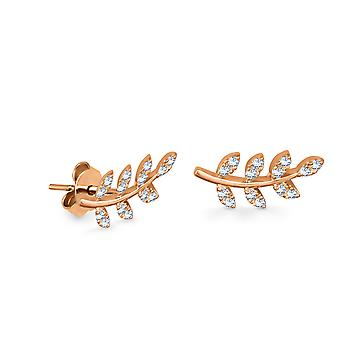 Earrings Leaf Of Hope 18K Gold and Diamonds