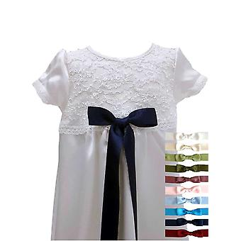 Christening Gown In White Lace - Grace Of Sweden -  Short Sleeve, 10 Bow Choices