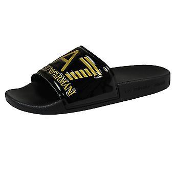 Ea7 emporio armani men's sea world black & gold sliders