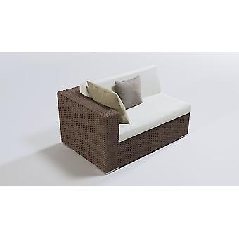 Polyrattan Cube finale bank 140 cm, links - moer bruin