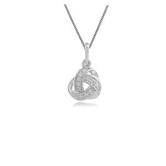 Classic Round Diamond Love Knot Pendant Necklace in 9ct White Gold 117P0077019