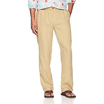 28 Palms Men's Relaxed-Fit Linen Pant with Drawstring, Tan, Small/32