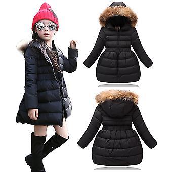 أطفال مبطن الفتيات مبطن طويل باركا معطف الشتاء مع فو الفراء تقليم هود - أسود