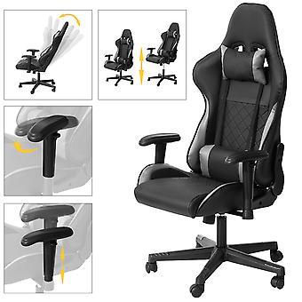 SoBuy FST82-SCH, silla de juego silla de ordenador ergonómica con altura ajustable, reposabrazos y respaldo, reposacabezas y cojín lumbar incluidos