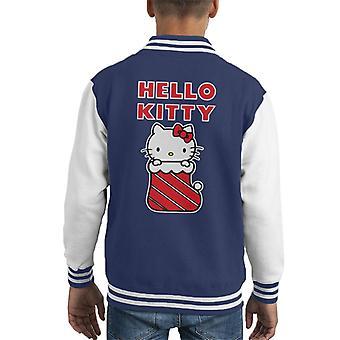 Hallo Kitty In Weihnachten Strumpf Kid's Varsity Jacke