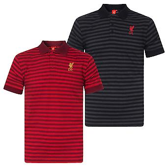 Liverpool FC Mens Polo Shirt Striped Marl Yarn Dye OFFICIAL Football Gift