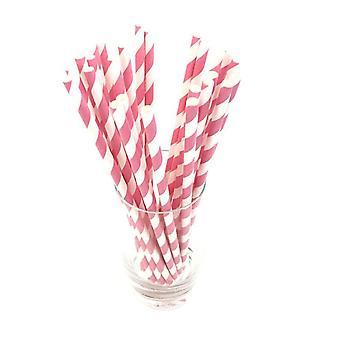 25PCS Disposable Striped Paper Straws Pink