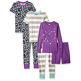 Brand - Spotted Zebra Big Kids' 6-Piece Snug-Fit Cotton Pajama Set, Moon and Stars, Large (10)