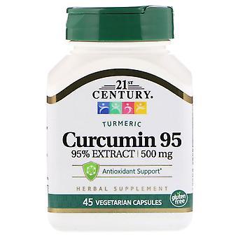 21ème siècle, Curcumine 95, 500 mg, 45 capsules végétariennes