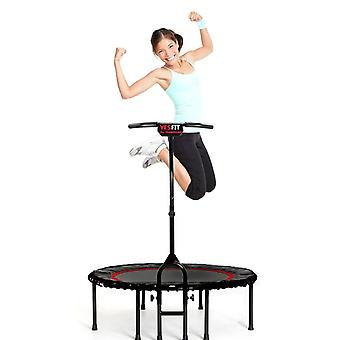 "40"" Foldable Mini Trampoline,fitness Trampoline With Adjustable Handrail And Safety Pad,indoor/outdoor Exercise Rebound Trampoline For Adults/kid"