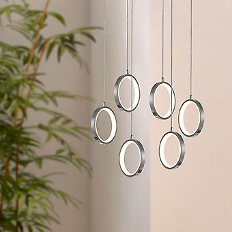 Soleil 6 Light Nickel Pendant - Oval Canopy