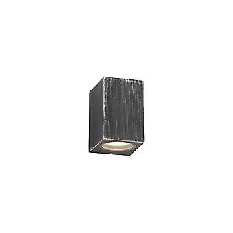Éclairage Luminosa - Rectangle Wall Down Lamp, 1 x GU10, IP54, Noir, Argent