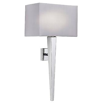 Endon Moreto - 1 Light Indoor Wall Light Chrome with Grey Silk Effect Shade, B22