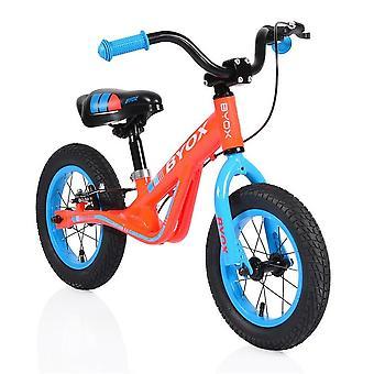 """Byox corredor roda vermelho, 12"""" pneus pneumáticos, alças anti-deslizamento, sela ajustável"""