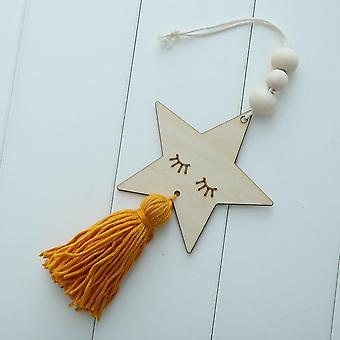 Ins Nordic Style Children's Room Star Rabbit Wooden Tassel Beaded Cartoon- Hanging Decorative Wall Hanging Ornament Crafts