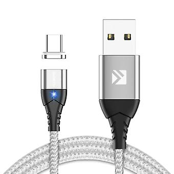 FLOVEME USB-C Magnetic Charging Cable 2 Meters Type C - Braided Nylon Charger Data Cable Android Silver