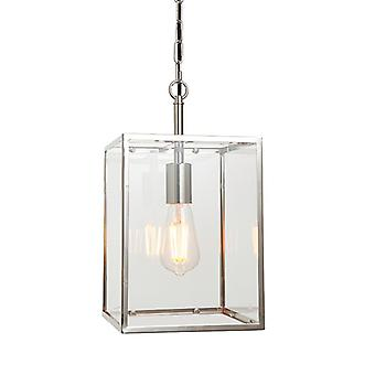 Endon Lighting Hadden - Pendentif Bright Nickel Plate & Clear Glass 1 Light Dimmable IP20 - E27