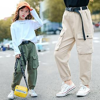 High Waist Cargo Pants, Cool Trousers Pocket Loose Cotton Sport Running Pants