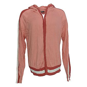 Lisa Rinna Collection Women's Sweater Striped Sleeve W/ Hood Pink A305077