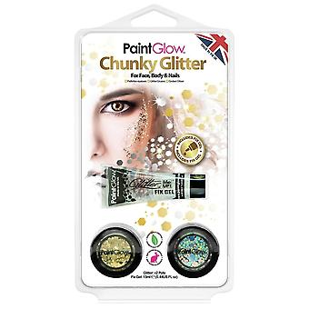 PaintGlow Halloween Fancy Dress Accessories - Bio-degradable Chunky Glitter - Gold And Silver