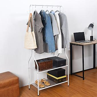 Clothes Rail With Two Shelves in White Powder Coating