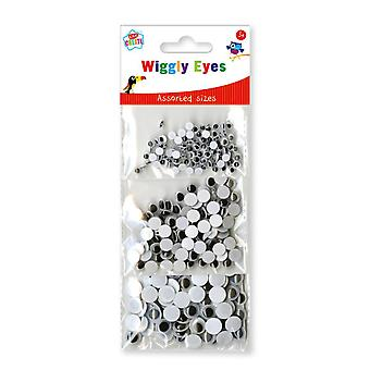 Pack of 3 Bags Assorted Size Wiggly Eyes Childrens Arts & Crafts 3+