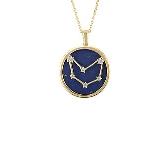 Zodiac Lapis Lazuli Gemstone Star Pendant Necklace Gold Capricorn