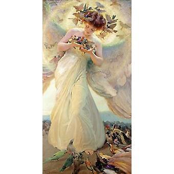Ангел птиц печати плаката Франц Дворжака