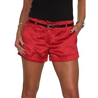 Women's Smart Sexy Hot Pants Damer Skräddarsydda Låg Midja Bältade Stretch Shiny Satin Shorts 6-14