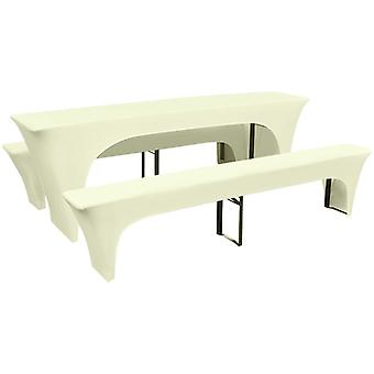Three-piece cover set for beer table/bench stretch cream
