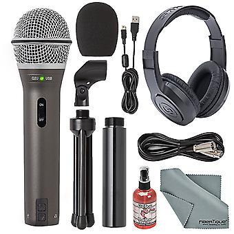 Samson q2u handhållen dynamisk usb-mikrofon inspelning och podcasting kit + tillbehör bunt