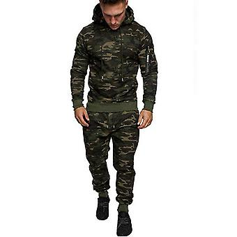 Nieuwe Heren's Pullover Hooded Sweater Solid Color Camouflage Sports Pants Suit 2-delige Set