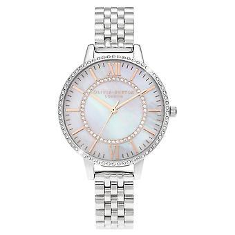 Olivia Burton Ob16wd91 Wonderland Mother Of Pearl Demi Dial Silver Ladies Watch