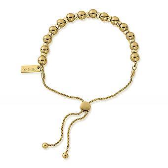 ChloBo GBSBA Women's Gold Tone Sparkle Ball Adjustable Bracelet