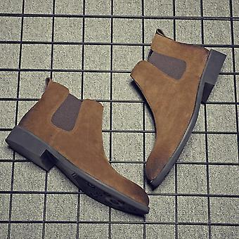 Men Winter Chelsea Slip-on Cow Leather Ankle Boots
