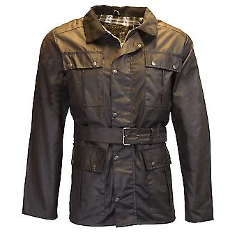 Walker and Hawkes - Mens Classic Belted Waxed 4 Pocket Motorcycle Waterproof Jacket with Tartan Lining