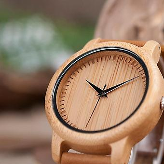 Ladies Casual Quartz Watches Natural Bamboo Top Brand Unique For Couple In Box
