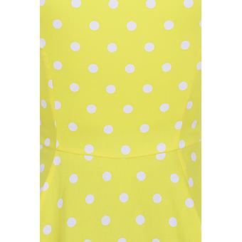 Hearts & Roses Womens 50's Inspired Cindy Polka Dot Swing Dress In Yellow